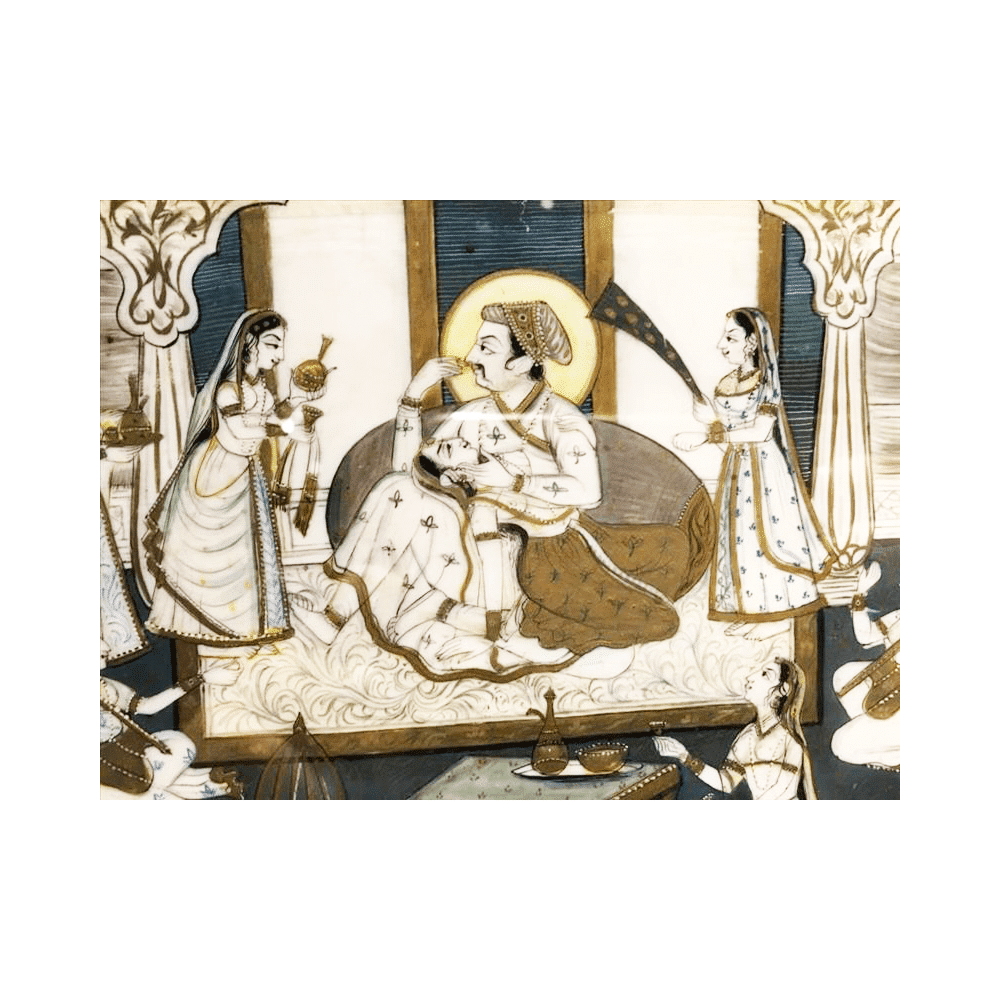 Indian Water Color Painting On Ivory | cuadro acuarela india sobre marfil