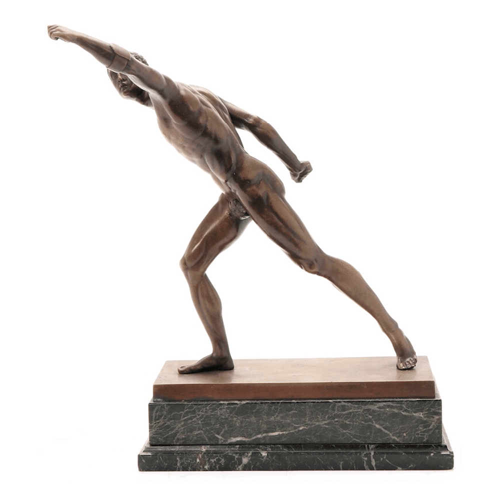bronze figure of an athlete | Figura de bronce de un atleta